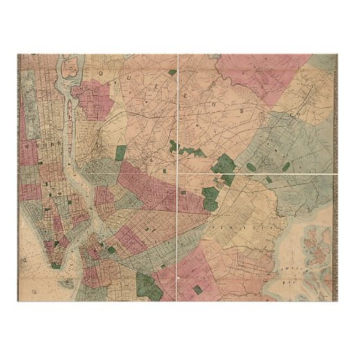 Vintage 1872 Brooklyn Map - New York City, Queens Full Color Flyer