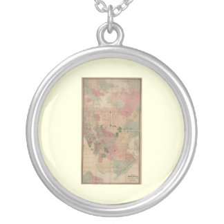 Vintage 1872 Brooklyn Map - New York City, Queens Round Pendant Necklace
