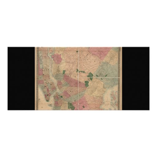 Vintage 1872 Brooklyn Map - New York City, Queens Full Color Rack Card