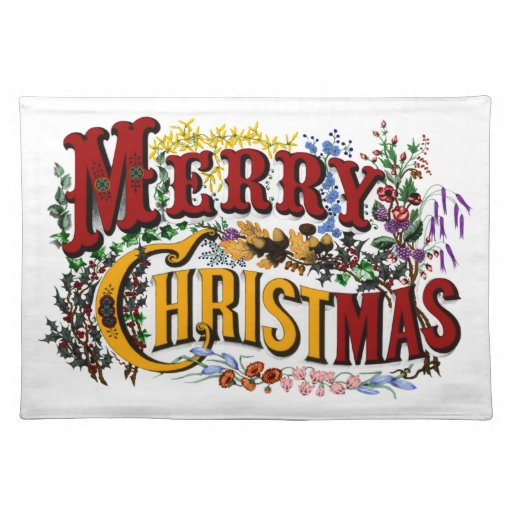 Vintage 1876 Merry Christmas Placemat