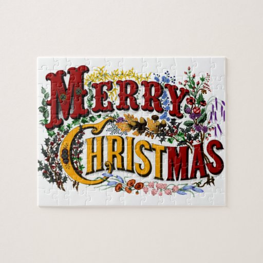 Vintage 1876 Merry Christmas Puzzle