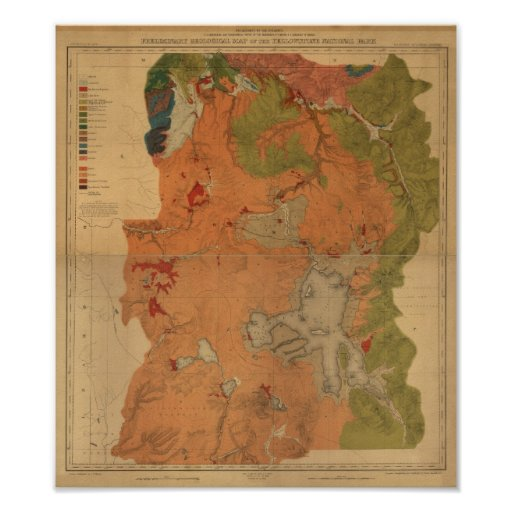 Vintage 1878 Yellowstone Park Map, Wyoming, Montan Poster