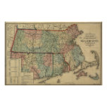 Vintage 1879 Massachusetts & Rhode Island Map Posters