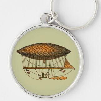 Vintage 1883 Traveling Zeppelin Silver-Colored Round Key Ring