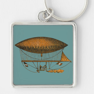 Vintage 1883 Traveling Zeppelin Silver-Colored Square Key Ring