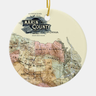 Vintage 1890 Map of Marin County Round Ceramic Decoration