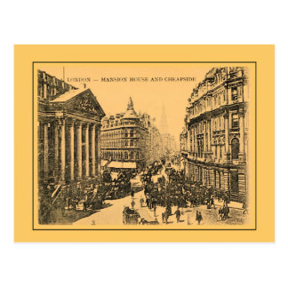 vintage 1890s London Mansion House and Cheapside Postcard