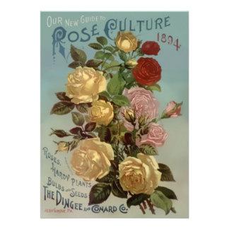 Vintage 1894 Guide to Rose Culture Custom Invite