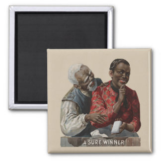 Vintage 1895 Cigar Ad African American Square Magnet