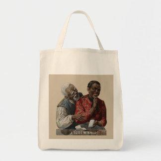 Vintage 1895 Cigar Ad African American Sure Winner Grocery Tote Bag