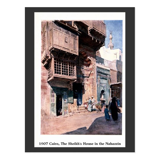 Vintage 1900 Cairo Egypt Sheikh's House Nahazzin Postcard