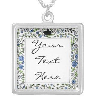 Vintage 1900s Blue Floral Square Pendant Necklace