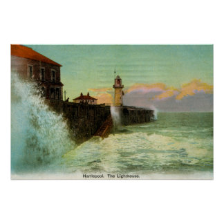 Vintage 1900s Hartlepool The lighthouse Poster