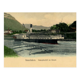 Vintage 1900s Interlaken Steamboat on the canal Postcard