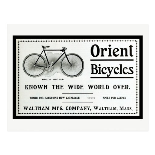 Vintage 1902 Orient bicyles ad Post Card