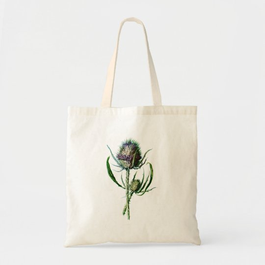 Vintage 1902 Scottish Thistle Antique Wild Flower Tote