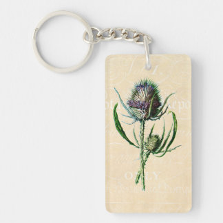 Vintage 1902 Scottish Thistle Antique Wildflower Key Ring