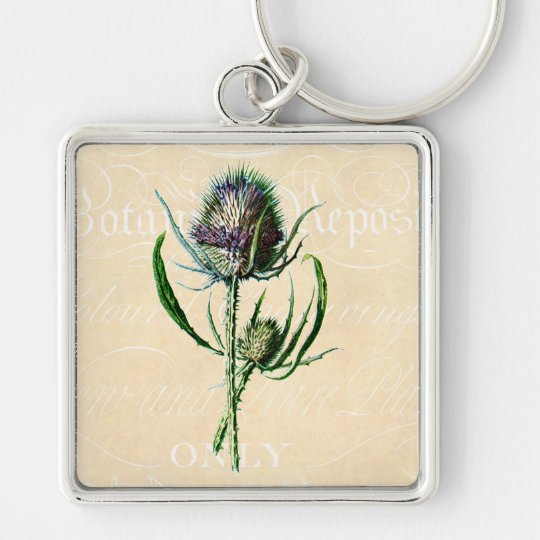 Vintage 1902 Scottish Thistle Antique Wildflower Silver-Colored Square Key Ring