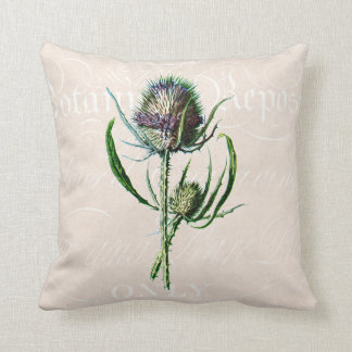 Vintage 1902 Scottish Thistle Old Wild Flower Throw Pillow