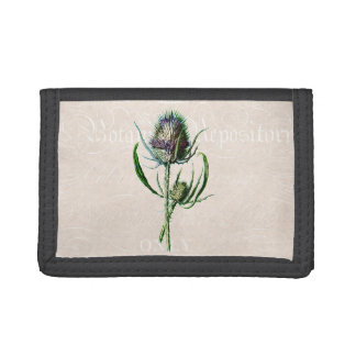 Vintage 1902 Scottish Thistle Old Wild Flower Trifold Wallets