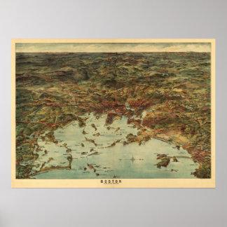 Vintage 1905 Boston View / Map Print