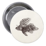 Vintage 1905 Lionfish Scorpionfish Retro Lion Fish 7.5 Cm Round Badge