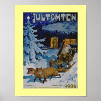 Vintage 1906 Swedish Christmas Poster