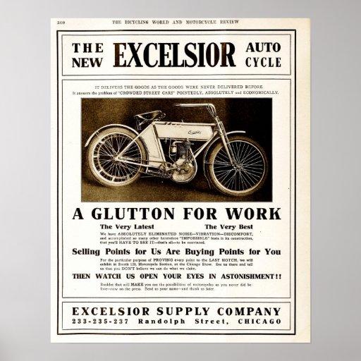 Vintage 1907 Excelsior motorycles advertising Print