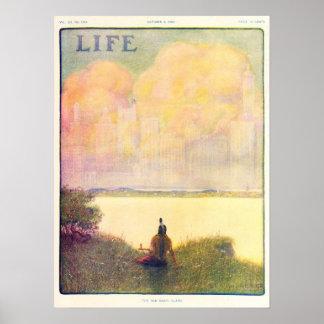 Vintage 1908 Life Magazine, New York City Poster
