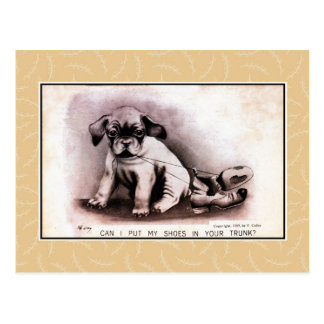 Vintage 1909 cute puppy, lovers, living together postcard