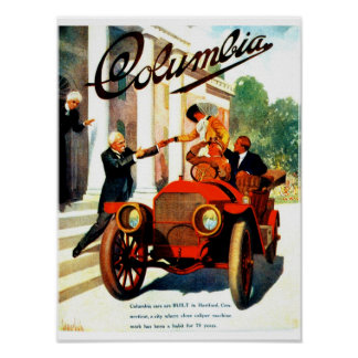 Vintage 1910s Columbia autos 12 x 16 inches Poster