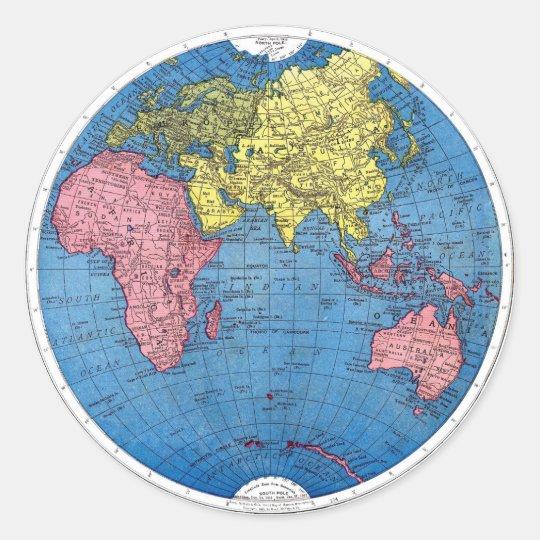 Round Globe Map.Vintage 1915 Map Of The World Atlas Globe Classic Round Sticker