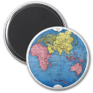 Vintage 1915 Map of the World Atlas Globe Magnet