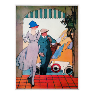 Vintage 1918 Golf fashion Watercolor Print