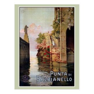 Vintage 1920 Lake Como Lenno Italian travel advert Postcard