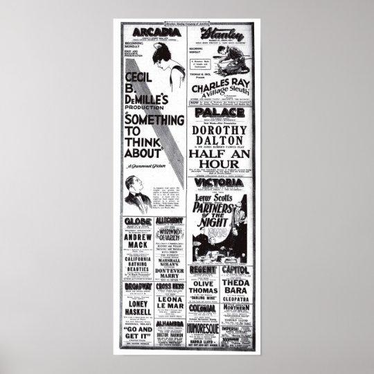 Vintage 1920 movie ads T-shirt Poster