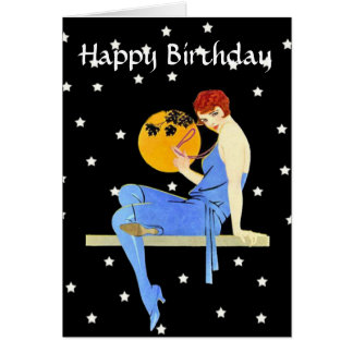 Vintage 1920's Flapper Lady Moon Stars Birthday Greeting Card