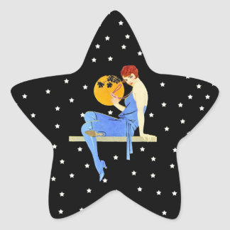 Vintage 1920's Flapper Lady Moon Stars Red Hair Sticker