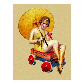 Vintage 1920's Flapper Lady Umbrella Wagon Bathing Postcard