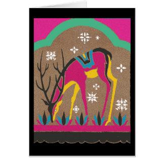 Vintage 1920 s Reindeer Grazing in the Snow Greeting Card