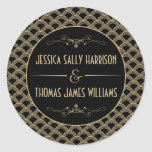 Vintage 1920's Art Deco Gatsby Wedding Collection Round Sticker