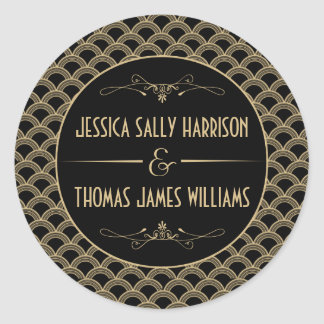 Vintage 1920's Art Deco Gatsby Wedding Collection Round Sticker