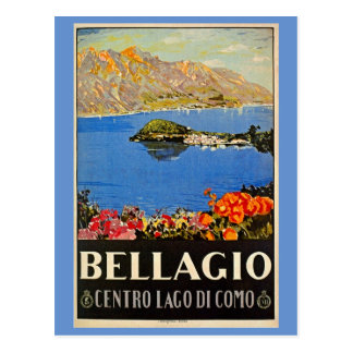 Vintage 1920s Bellagio Italian travel advert Postcard