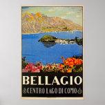Vintage 1920s Bellagio Italian travel advert Posters
