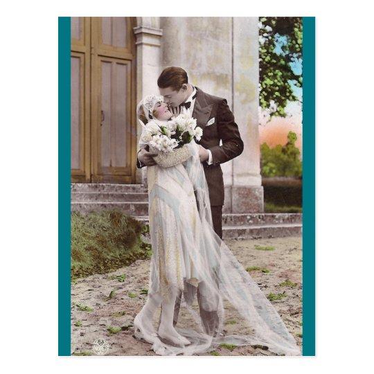 Vintage 1920s Bride and Groom Photo Postcard