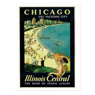 vintage 1920s Chicago beach travel ad Postcard
