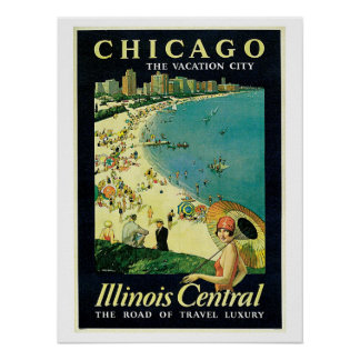 Vintage 1920s Chicago beach travel ad Poster