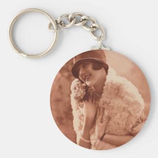 Vintage 1920s Flapper Girl Keychain