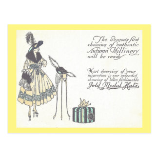Vintage 1920s Hat Millinery Show Advertisement Postcard