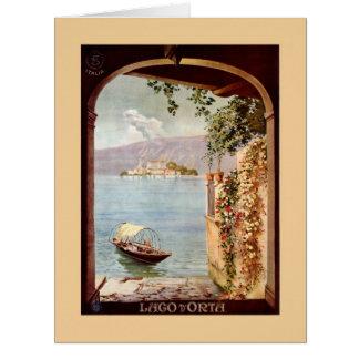 Vintage 1920s Lago d'Orta Italian travel poster Large Greeting Card